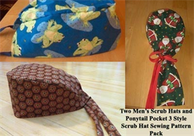 three style scrub hat sewing pattern pack