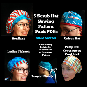 five pack scrub hat sewing pattern set