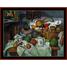 vessels, basket & fruit - cezanne cross stitch pattern by cross stitch collectibles