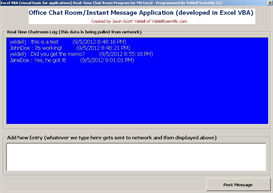 office chat (real time chat room built in ms excel!)