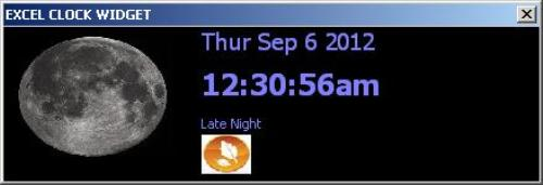 Second Additional product image for - MS Excel Real-Time Animated Clock Widget Addin