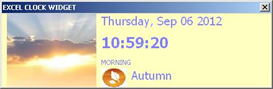 ms excel real-time animated clock widget addin