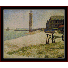 lighthouse at honfluer - seurat  cross stitch pattern by cross stitch collectibles