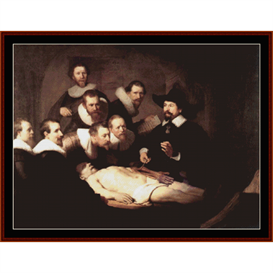 the anatomy lecture - rembrandt cross stitch pattern by cross stitch collectibles