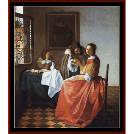 a lady & two gentlemen - vermeer cross stitch pattern by cross stitch collectibles