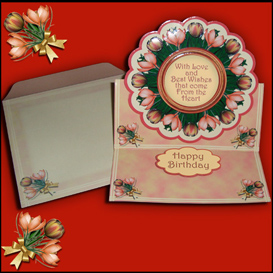 scalloped easel card kit with matching envelope in peach