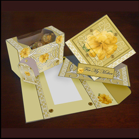 spring card, envelope and gift box set in gold