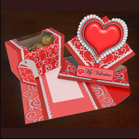 spring card, envelope and gift box set in red
