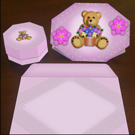 stand up bear card in pink with envelope and gift box