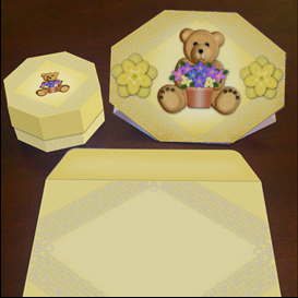 stand up bear card in yellow with envelope and gift box