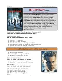 inception, whole-movie english (esl) lesson