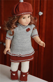 dollknittingpatterns - 0081d trude - jacket, pants, skirt, tunic, beret and socks-(engnordeutnederl)