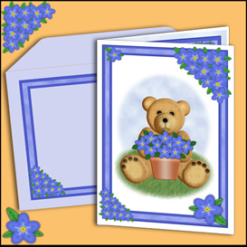 bear card with matching insert and envelope in blue