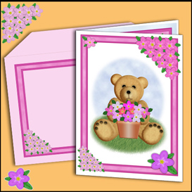 bear card with matching insert and envelope in pink