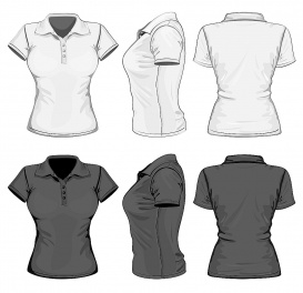 vectorlib rf (standard license): vector. women's polo-shirt design template (front, back and side view). no mesh.