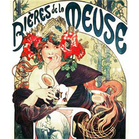 bieres de la meuse - mucha cross stitch pattern by cross stitch collectibles