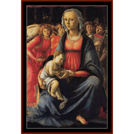 virgin & child with 5 angels - boticelli cross stitch pattern by cross stitch collectibles