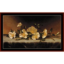 cherokee roses on gray cloth - heade cross stitch pattern by cross stitch collectibles