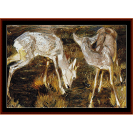 deer at dusk - franz marc cross stitch pattern by cross stitch collectibles