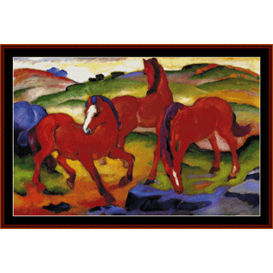 red horses - franz marc cross stitch pattern by cross stitch collectibles