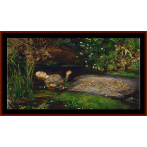 death of ophelia - millais cross stitch pattern by cross stitch collectibles