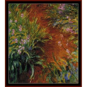 path through the irises, postersize - monet cross stitch pattern by cross stitch collectibles