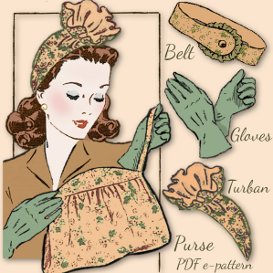ruffled turban 1940's vintage pattern gloves~ belt ~ bag too!