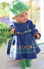 dollknittingpatterns - 0082d amina - flower dress, pants, shoes and hat