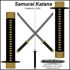 samurai katana 3d model for poser / daz studio