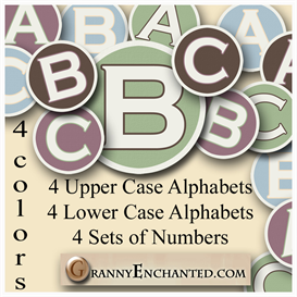granny enchanteds set of 4 alphas and numbers