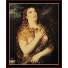 mary magdalen repentant - titian cross stitch pattern by cross stitch collectibles