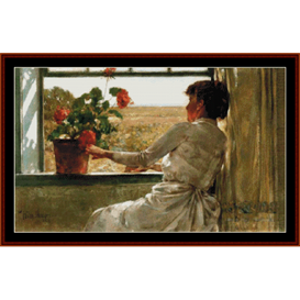 a summer evening - childe hassam cross stitch pattern by cross stitch collectibles