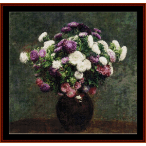 asters in a vase - fantin latour cross stitch pattern by cross stitch collectibles