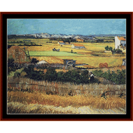 harvest at la crau - van gogh cross stitch pattern by cross stitch collectibles