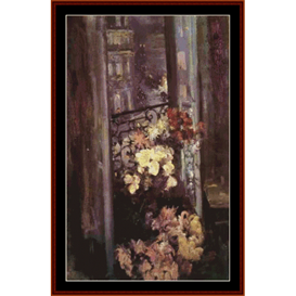 parisian balcony - korovin cross stitch pattern by cross stitch collectibles