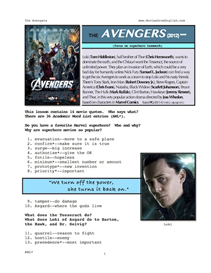 the avengers, whole-movie english (esl) lesson