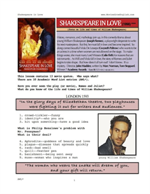 shakespeare in love, whole-movie english (esl) lesson