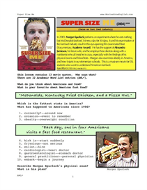 super size me, whole-movie english (esl) lesson