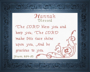 Name Blessings -  Hannah 3 | Crafting | Cross-Stitch | Religious