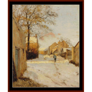 village street in winter - sisleycross stitch pattern by cross stitch collectibles