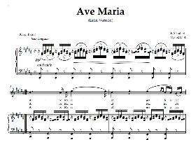 ave maria, high voice in  b major (sopr/tenor),  schubert (latin). digital score. a4 (portrait)