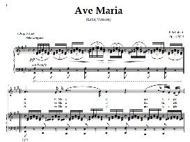 ave maria, medium-high voice  in a major (dramatic soprano, tenor),  schubert (latin). digital score. a4 (portrait)