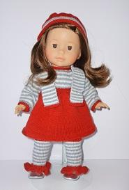doll knitting pattern - a007-red and stripes outfit