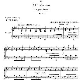 ah mio cor,schernito sei, low voice (mezzo) in g minor, g.f.handel, anthology of italian song of the 17th and 18th centuries (parisotti), vol.1, schirmer (1894)