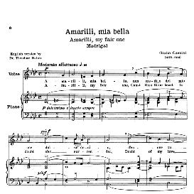 amarilli, mia bella, low voice in f minor, g.caccini.transposition for low voice. for bass, contralto, countertenor. source: anthology of italian song of the 17th and 18th centuries (parisotti), vol. 2. schirmer (1894)