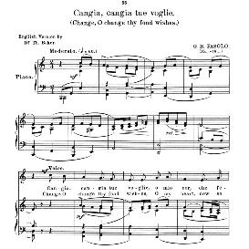 cangia,cangia tue voglie, high voice in c major, g.b.fasolo. soprano/tenor. anthology of italian song of the 17th and 18th centuries (parisotti), vol.2, schirmer (1894)