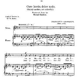 Caro laccio,dolce nodo, Medium-low Voice in E Flat Major, for Mezzo/Baritone. F.Gasparini. Anthology of Italian Song of the 17th and 18th centuries (Parisotti), Vol.2, Schirmer (1894) | eBooks | Sheet Music