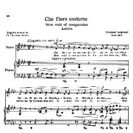 che fiero costume, low voice in f minor, g.legrenzi. transposition for low voice (schirmer). for bass, contralto, countertenor. source: anthology of italian song of the 17th and 18th centuries (parisotti), vol.1, schirmer (1894)