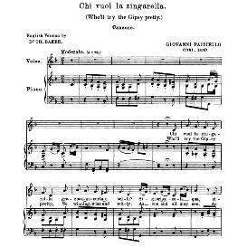 chi vuol la zingarella, medium voice in f major, g.paisiello. soprano/mezzo. anthology of italian song of the 17th and 18th centuries (parisotti), vol.1, schirmer (1894)