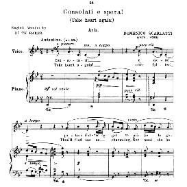 Consolati e spera!, Medium-Low Voice in G Minor, D.Scarlatti. For Mezzo, Baritone. Anthology of Italian Song of the 17th and 18th centuries (Parisotti), Vol.1, Schirmer (1894) | eBooks | Sheet Music